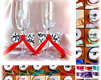 Damask Wedding Champagne Glasses - Bride and Groom Toasting Flutes - Custom Colors - Lapis - Regency - Oasis and more