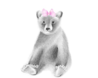 Bear Nursery Art Print, Bear Cub, Pink Bow, Baby Girl Nursery, Grey Wall Decor, Animal Print, Woodland Animals, Forest Bear, Baby Wall Decor
