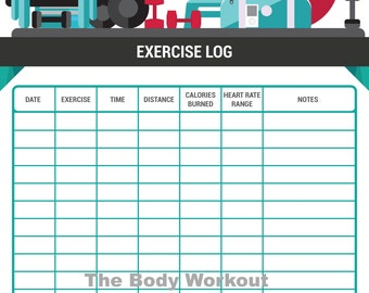 Workout Log, Exercise Log, Fitness Diary, Gym Log, Gym Diary, Workout Chart, Fitness Chart,  Fitness Log, Workout Journal,  Fitness Journal