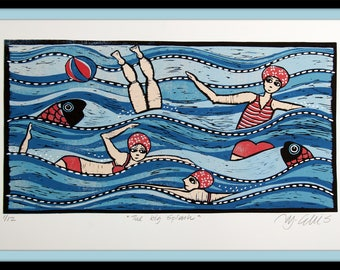 linocut, Big Splash, ocean wall art, bathers print, swimmers art print, blue and red art, fish print, on the beach art, beach ball print