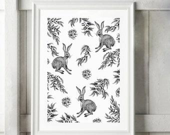 Hare Illustration, Digital Print, Ink Drawing, Black White Print, Bunny Art, Rabbit Art, Rabbit Wall Art, Nature Art, Pointillism Art