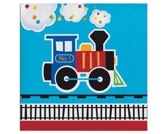 Train Napkins - Train Party Supplies, Train Birthday Party, Train Party Napkins, Train Party Plates, Choo Choo I'm 2, Transportation Party