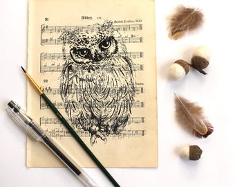 Scops Owl Print, Bird Print, Scops Owl Gocco Print on Vintage Music Paper