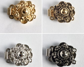 1st. 2-row clasp with spring closure, approx. 15 mm, made in Germany, Clasp RungVerschluss