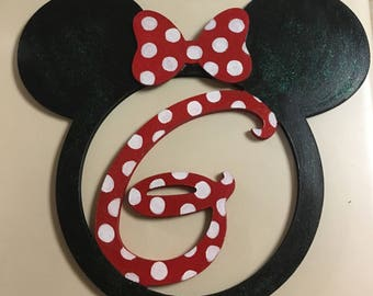 Mickey ears monogram wreath with wood bow