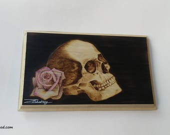 Unique skull and rose pyrography wood burning picture plaque.