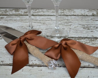 rustic cake knife, burlap wedding cake serving set, country wedding, custom color ribbon, shabby chic