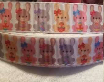 3 yards,  7/8' grosgrain ribbon Easter Bunny pattern.