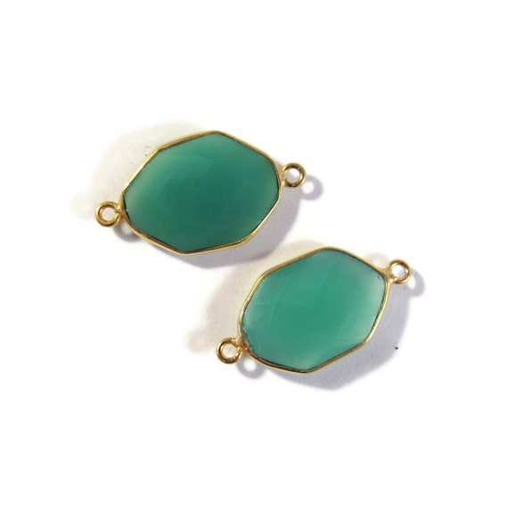 2 Green Onyx Pendants, Matched Pair of Gold Plated Irregular 24mm x 12mm Hexagon Bezel Pendants with Two Loops (C-Go2)