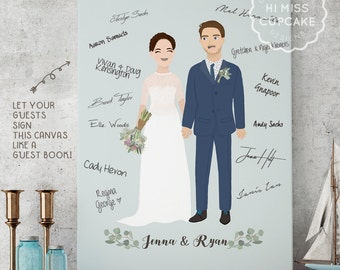 Couple Portrait Guest Book Canvas / Alternative Wedding Guest Book / Sign In Book / Party Guest Book /Guest Sign/Alternative Guest Books