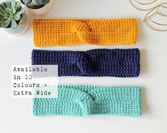 Crochet Ear Warmers / Mustard Winter Headband / Navy Twist Headband / Messy bun hat / Handmade Knitted Ear Warmer / Custom Colour Choice