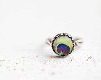 Peacock ring, Mothers day gift, Gift for women, Peacock jewelry, Boho Green Ring, Peacock Feather ring, Silver ring, Adjustable ring for mom