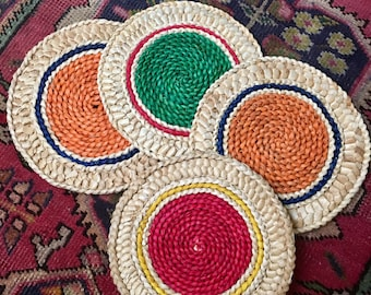 Vintage Set of 4 Boho Natural Woven Kitchen Trivets