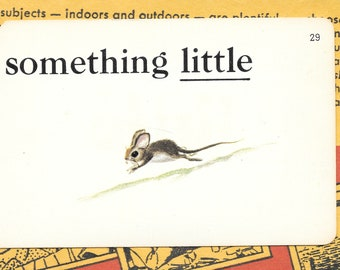 Little/something little/mouse/rodent/Vintage Vocabulary Flashcard