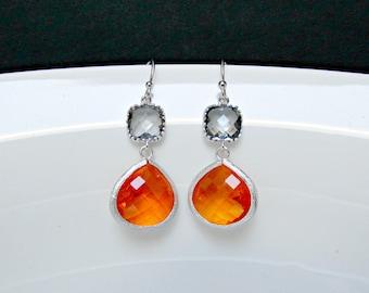 ash orange drop earrings , orange bridesmaids earrings , charcoal orange earrings , bridesmaids ash earrings , color block earrings , bridal