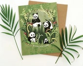 Panda Greeting Card, Panda birthday card, happy birthday pandas greeting cards, paper goods, panda cards