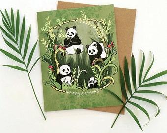 Panda Greeting Card, Panda birthday card, happy birthday pandas greeting cards, paper goods, panda cards