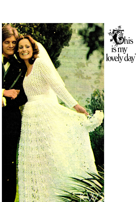 Vintage 70er Jahre Brautkleid häkeln PDF Muster Lace