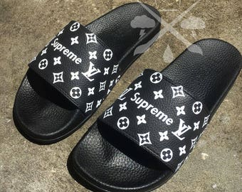 Black Supreme Louis Vuitton Luxury Designer Custom Slides Sandals Flip Flops