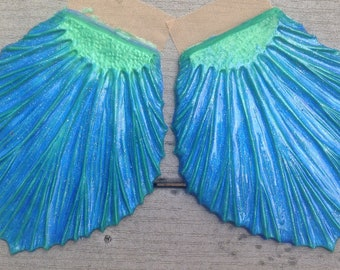 Ready to ship!  Blue-green glittery silicone fins for fabric or silicone mermaid tails (Rowan style, textured on one side)