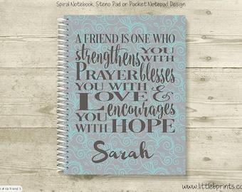 Friend Pray Love Hope Personalized Spiral Notebook Journal Prayer Journal Diary