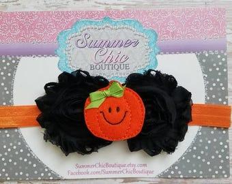 Pumpkin Headband, Halloween Headband, Baby Headband, Orange and Black Baby Headband, Infant Headband, Newborn Headband, Fall Baby