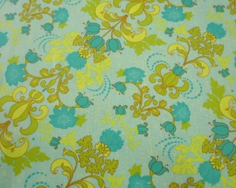 02004 - 1/2 yard of  Studio E  Gabrielle Diagonal Floral in Lime and Blue color