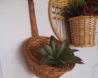 Vintage  Wall hanging ~ wicker bamboo rattan spoon basket ~ airplant planter ~ Boho wall art