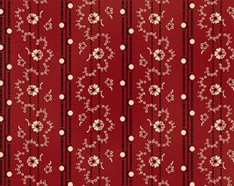 By The HALF YARD- Lancaster designed by Sara Morgan for Blue Hill Fabrics, #8278-2, Black & White Floral Vine Stripes on Deep Red, Civil War