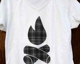 Camping T-Shirt | Plaid Campfire | V-Neck | Outdoor | Shirt | Ladies | Womens | Graphic Tee | RV | Bus | Van Life | Wanderlust | Camper | Tr