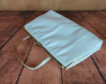 Mid Century Summer Purse by Ande//Unique Retro Twisted Metal Handle//?Faux? White Leather//Clutch Evening Handbag//Wedding Purse//Jackie O