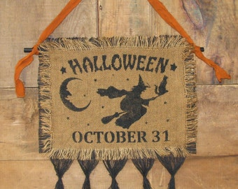 Primitive Halloween Stenciled Burlap Hanging - Ready to Ship