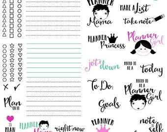 Planner digital brushes + PNG, .abr, digital stamps, graphics, clip art, INSTANT DOWNLOAD, photoshop brushes, agenda, planner stickers, list