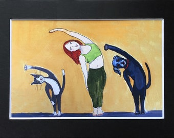 Animals Doing Yoga - Yoga Class PRINT - Black Lab and Tuxedo Cat Art Print in 5x7 Black Mat - Gift for Cat Lover - Animal Decor - Yogi Gift