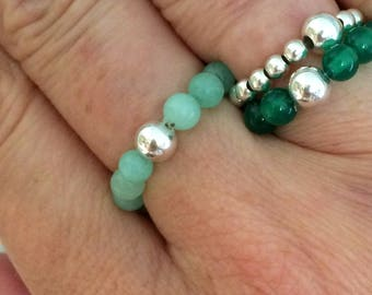 GREEN JADE stretch RING with Sterling Silver OR 14k Gold Fill accent bead