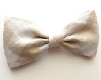 Champagne Elephant Check Linen Bow tie Champagne Gingham Self-Tie Champagne Linen Pre-tied Bow tie Wedding Bow tie Groomsmen Bow Tie