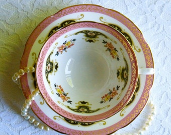 Vintage Royal Grafton Bone China Pink/Black Floral Teacup & Saucer, Made in England. Perfect for a Vintage Tea Party, Gift or Styling Prop