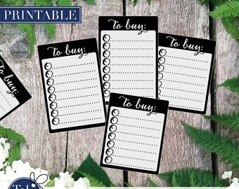 SHOPPING to BUY checklist printable planner stickers in black and white. Calligraphy checkboxes for Erin Condren and Happy planner planner.