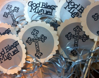 First Communion or Baptism Centerpiece Displays with Personalized Text