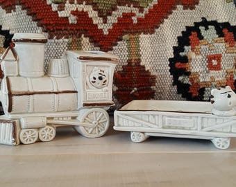 70s Cat Train Bathroom Set Soap Dish Toothbrush Holder Brushes Kitschy Kids Room Cats Trains Decor