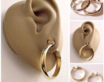 Monet Wedding Band Hoops Clip On Earrings Gold Tone Vintage Extra Large Round Domed Band Smooth Open Ring Dangles