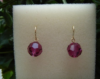 Sparkling earrings in gold 585 (14 K) with Crystal!