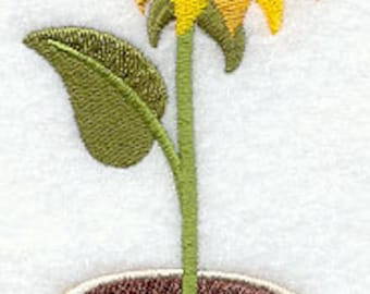 Potted Sunflower Embroidered Flour Sack Hand/Dish Towel