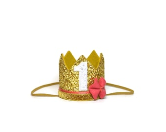 Belle First Birthday Crown    Princess Belle    Beauty and the Beast First Birthday Outfit Girl    Girl Crown    Gold Birthday Hat   