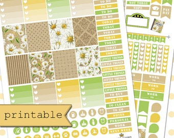 Printable Planner Stickers for use with Erin Condren Life Planner/Daisies Weekly Planner Sticker Kit/Spring Floral Planner Stickers