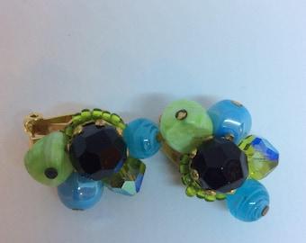 Vintage Hattie Carnegie Cluster Earrings Glass Beaded Signed Clip On 1950s Art Glass