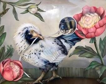 "Set of 3 blank artist greeting cards with envelopes: ""Alegre"" (Americauna chicken, bumblebee, peonies art)"