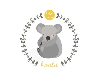 K is for Koala, letter print, nursery decor, instant download birth print, australian animals, baby koala, name print, bunting