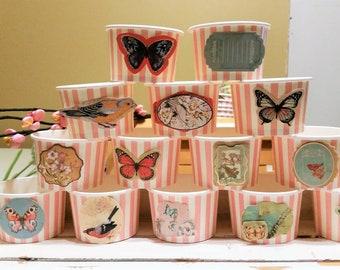 34 Victorian rose garden pink striped 8oz paper cups/bowls - 200ml ice-cream/gelato cups - wedding/baby shower/birthday treat/dessert cups