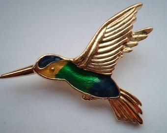 Vintage Signed Danecraft Goldtone/Green/Blue/Yellow Hummingbird Brooch/Pin